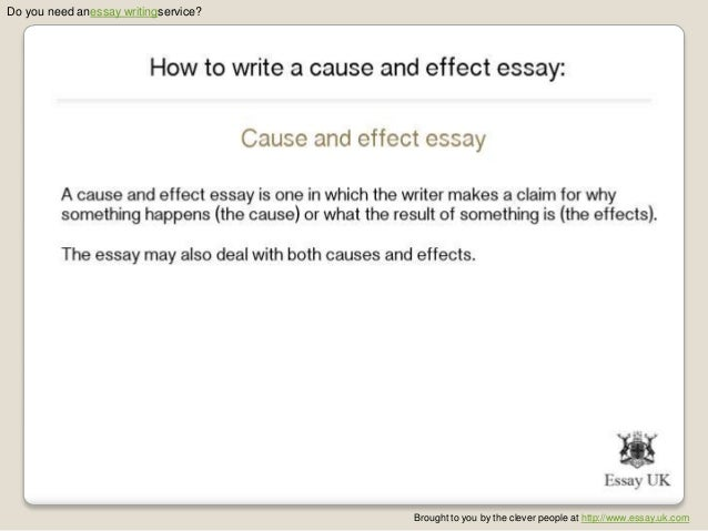 writing cause and effect essays Video created by university of california, irvine for the course getting started with essay writing now, you'll learn about writing the cause/effect essay.