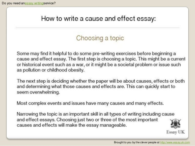 describe cause and effect essay By: writing tips today it is important to clearly identify cause and effect relationships in your academic writing, such as in your essays and dissertations.