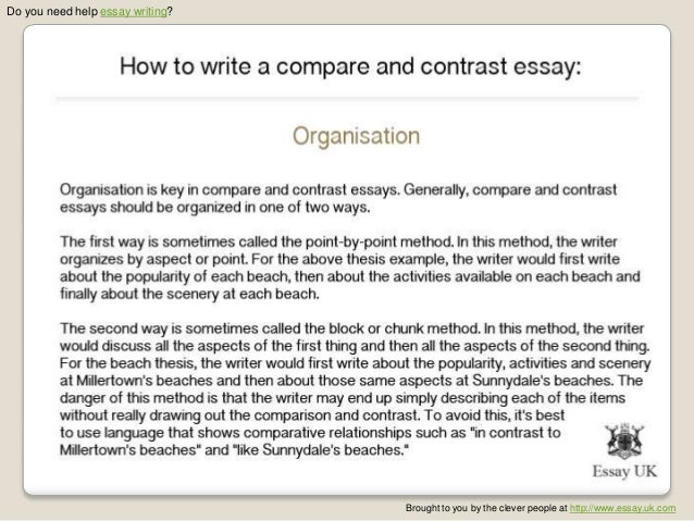 Help with Writing a Compare and Contrast Essay on the Web