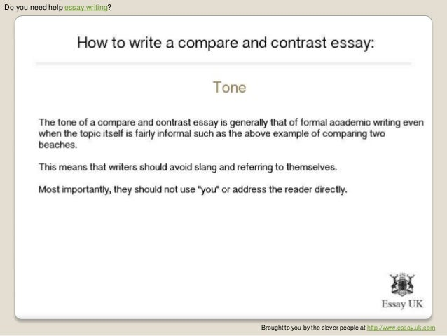 What do you write in a compare and contrast essay?
