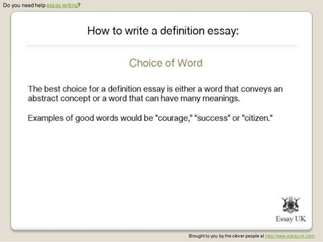 Help! I need to write a definition essay?