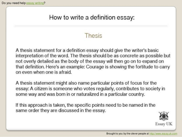 Formal sentence definitions: their components are the term being ...