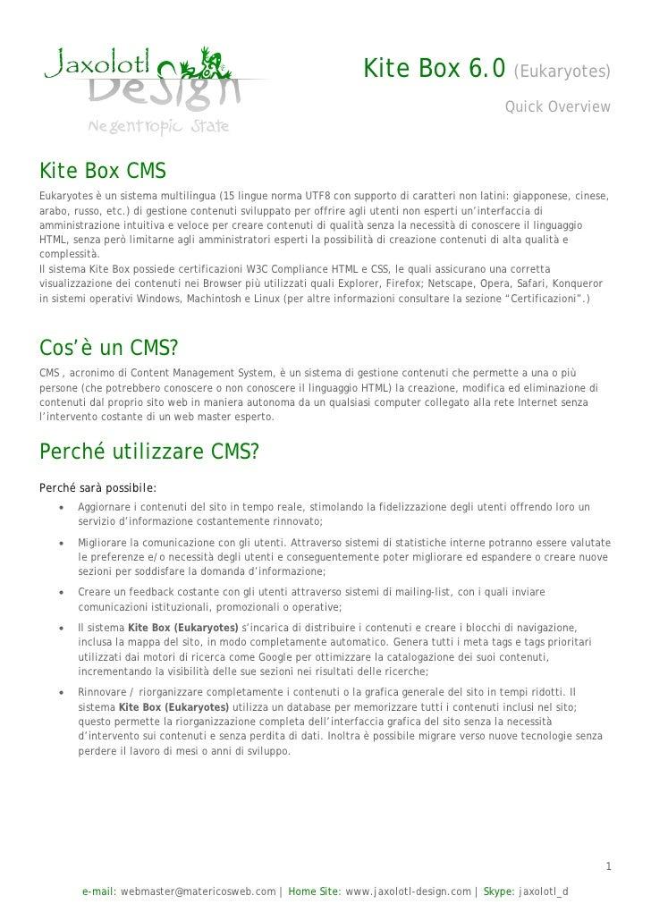 Kite Box 6.x 'Eukaryotes' CMS Overview Italian