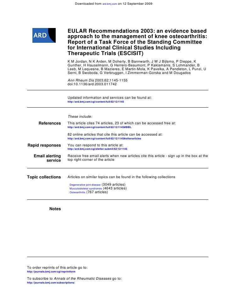 Downloaded from ard.bmj.com on 12 September 2009                                EULAR Recommendations 2003: an evidence ba...
