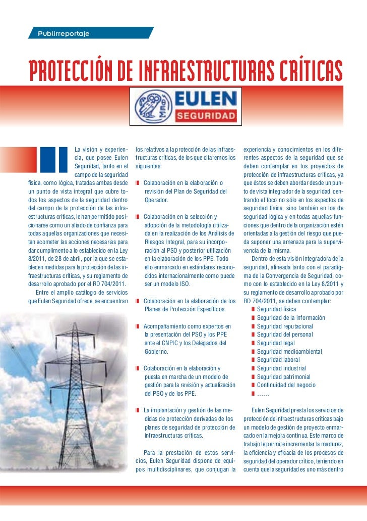 Eulen Seguridad   Protección de Infraestructuras Criticas  - Septiembre 2012