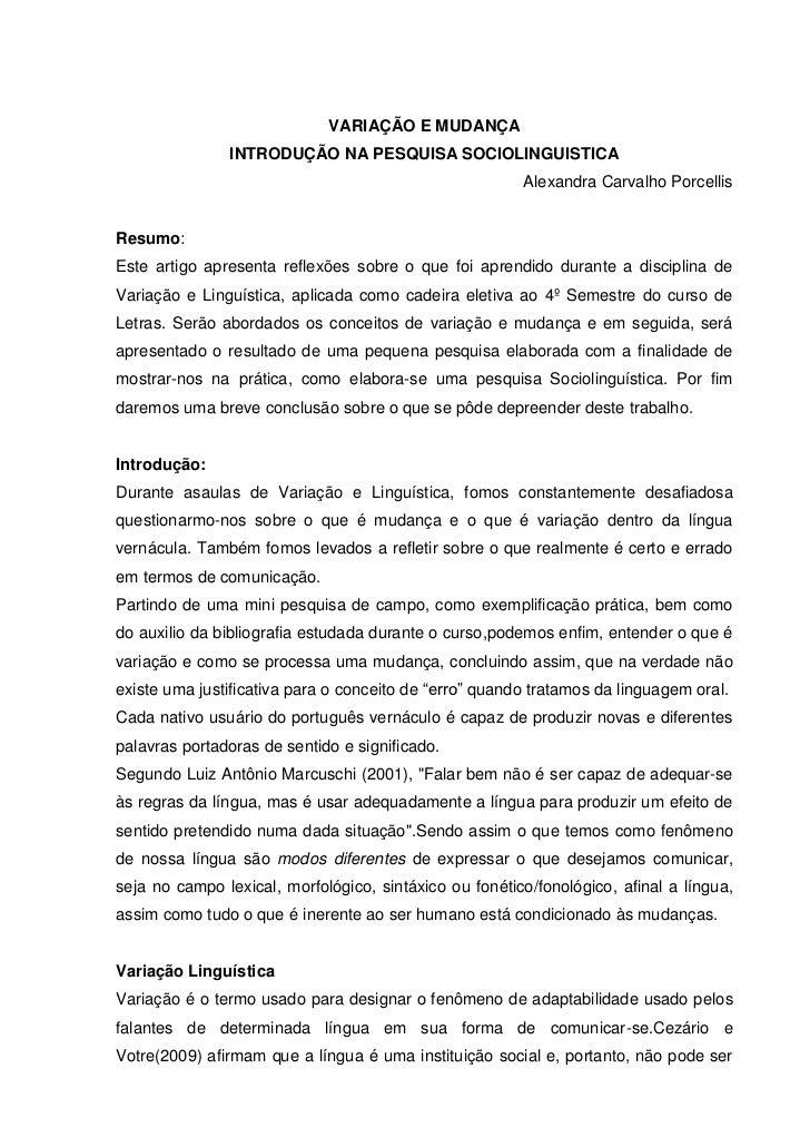 VARIAÇÃO E MUDANÇA               INTRODUÇÃO NA PESQUISA SOCIOLINGUISTICA                                                  ...