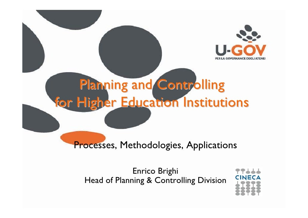 Planning and Controlling for Higher Education Institutions: Processes, Methodologies, Applications