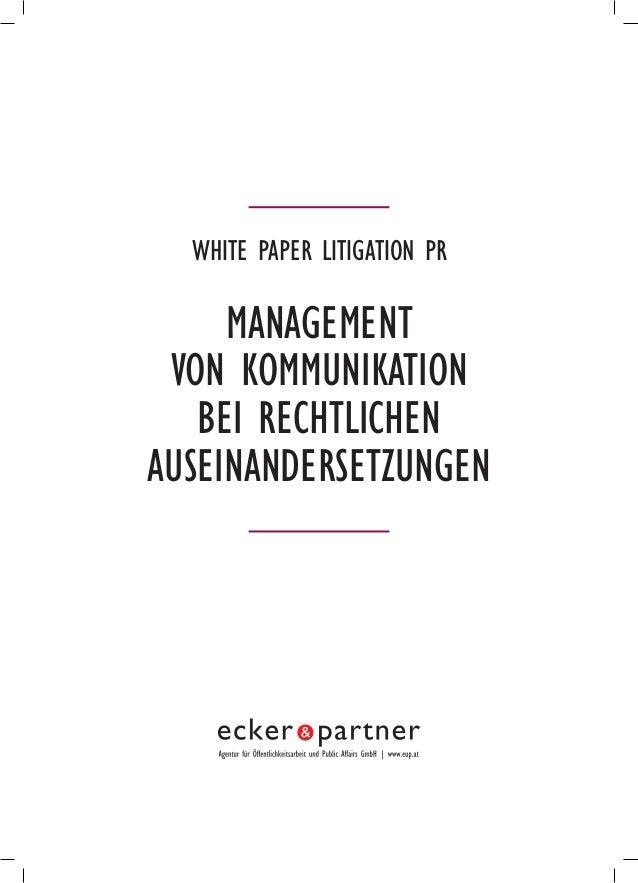 White paper Litigation PR Management von Kommunikation bei rechtlichen Auseinandersetzungen