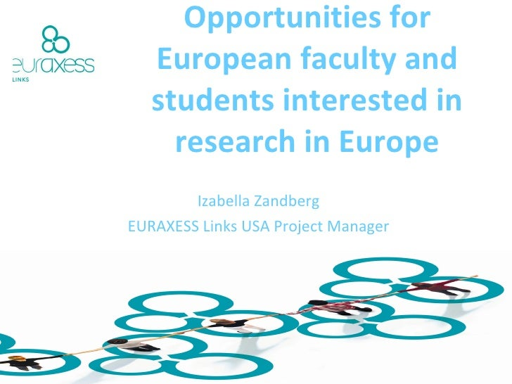 Networking and funding Opportunities for European faculty and students interested in research in Europe Izabella Zandberg ...