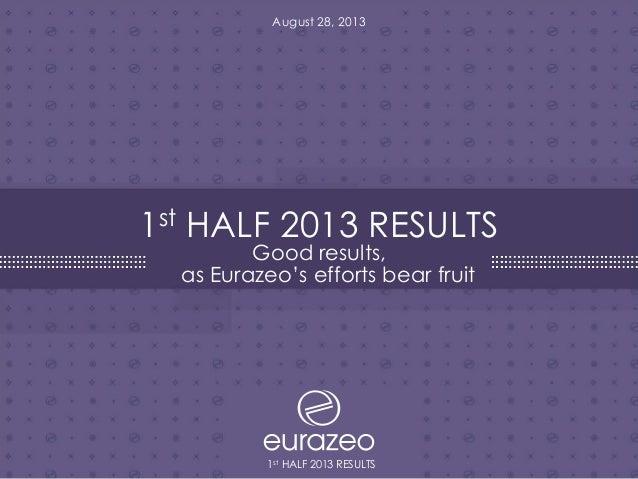 Eurazeo First Half 2013