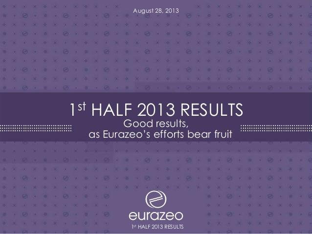 Résultats 1er semestre 2013