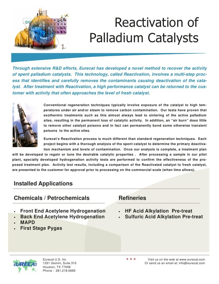 Reactivation of                                              Palladium CatalystsThrough extensive R&D efforts, Eurecat has...