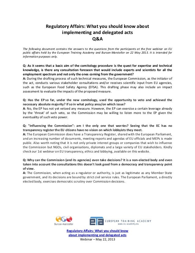 Eu regulatory affairs what you should know about implementing and delegated acts q&a