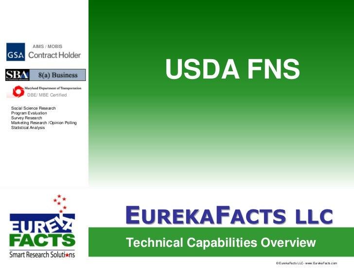 Eureka Facts Capabilities USDA FNS