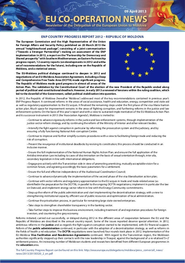 09 April 2013ENP Country Progress Report 2012 – Republic of MoldovaThe European Commission and the High Representative of ...