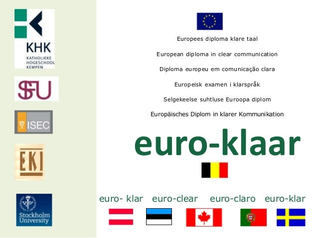 Europees diploma klare taal European diploma in clear communication Diploma europeu em comunicação clara Europeisk examen ...