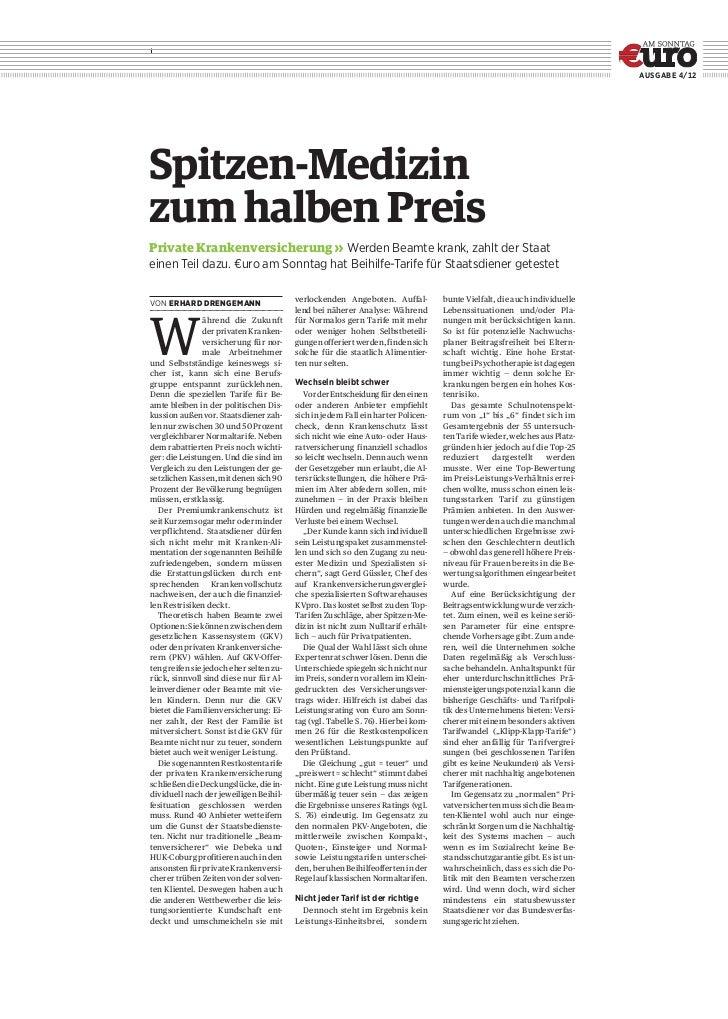 AusgAbe 4/12Spitzen-Medizinzum halben PreisPrivate Krankenversicherung» Werden Beamte krank, zahlt der Staateinen Teil da...