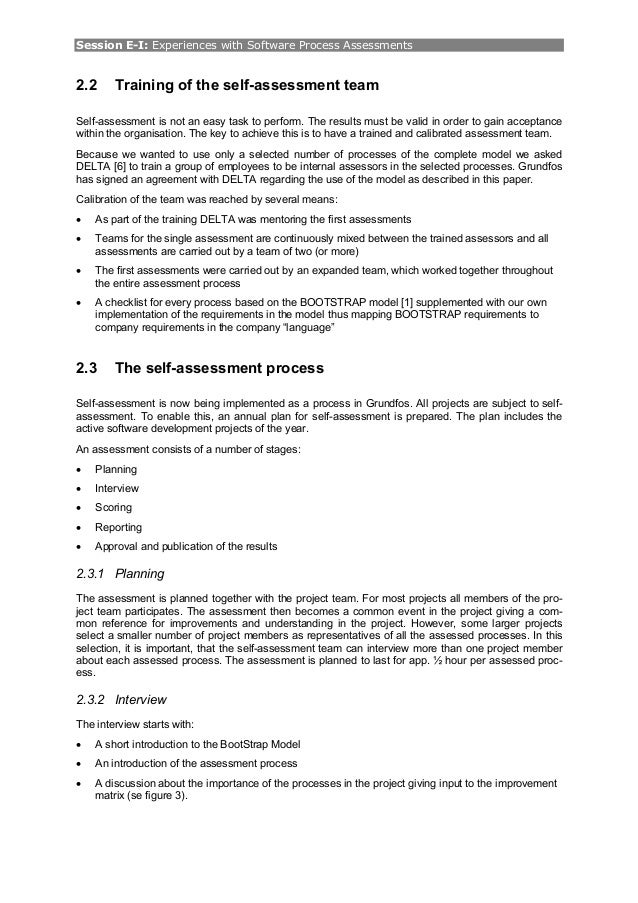 Self Assessment Paper The Self-assessment Team