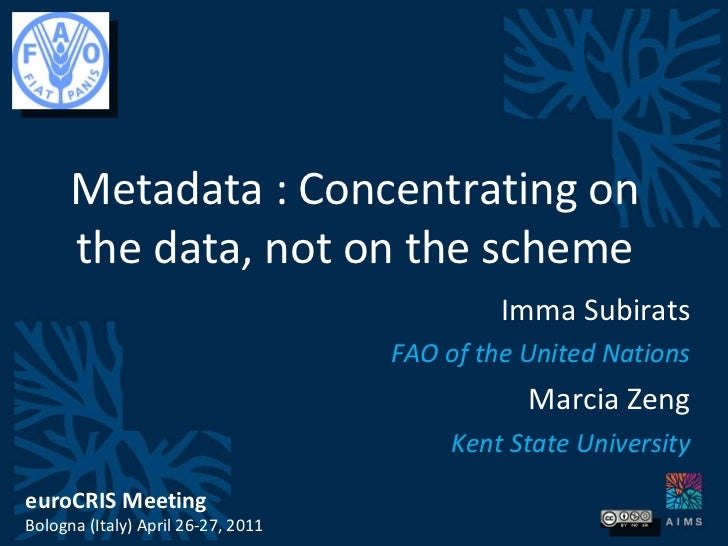 Metadata : Concentrating on the data, not on the scheme