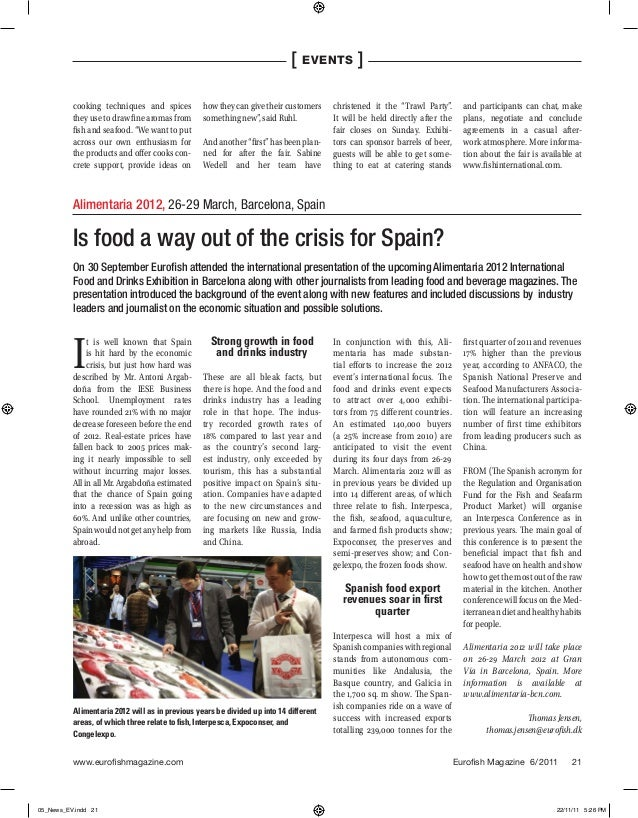 Is food a way out of the crisis for Spain? Eurofish Magazine (Dinamarca), diciembre 2011
