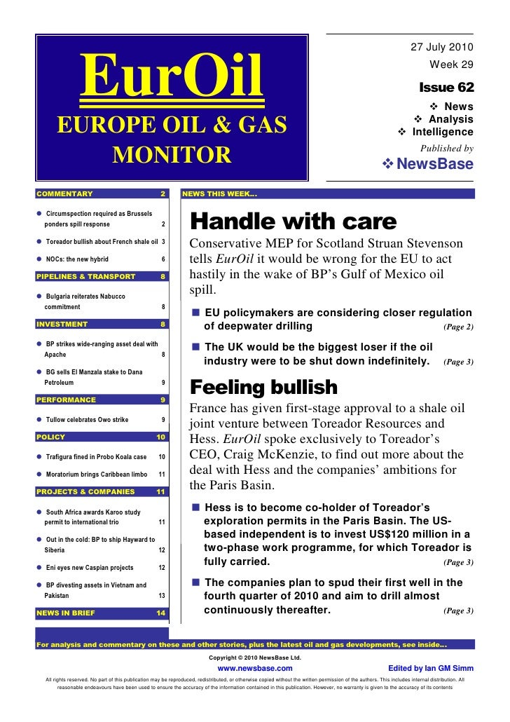 EurOil 27th July 2010 - Toreador CEO on Hess JV in Paris Basin