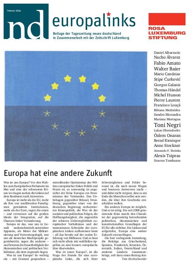 europalınks  Beilage der Tageszeitung neues deutschland  in Zusammenarbeit mit der Zeitschrift LuXemburg  Februar 2014  Eu...
