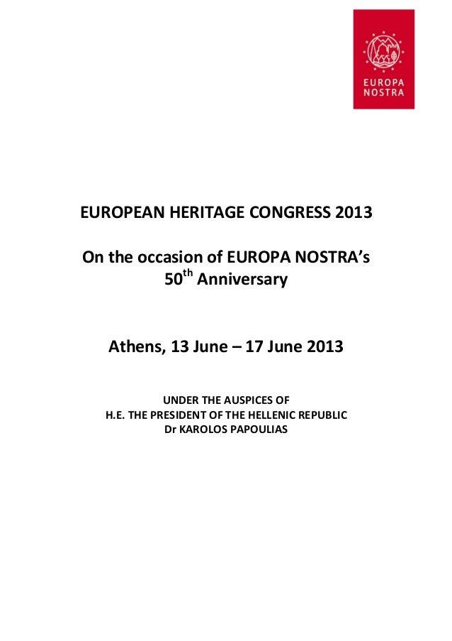 Europa Nostra Congress Athens 2013 - Programme