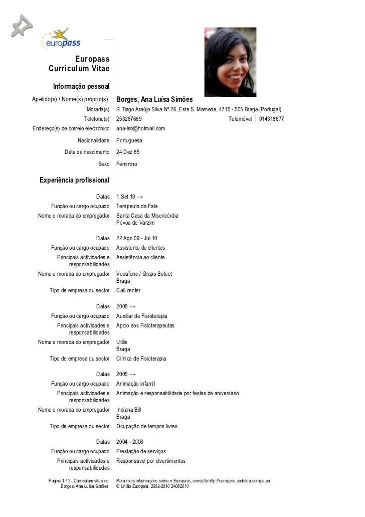 cv templates and guidelines europass - Europass Curriculum Vitae