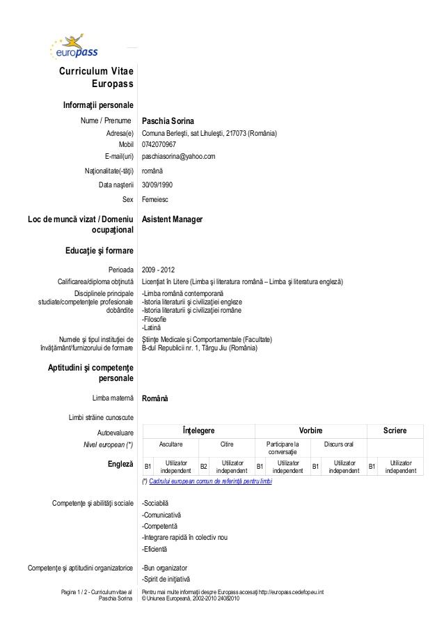 Resume format model cv european model cv european romana yelopaper Choice Image