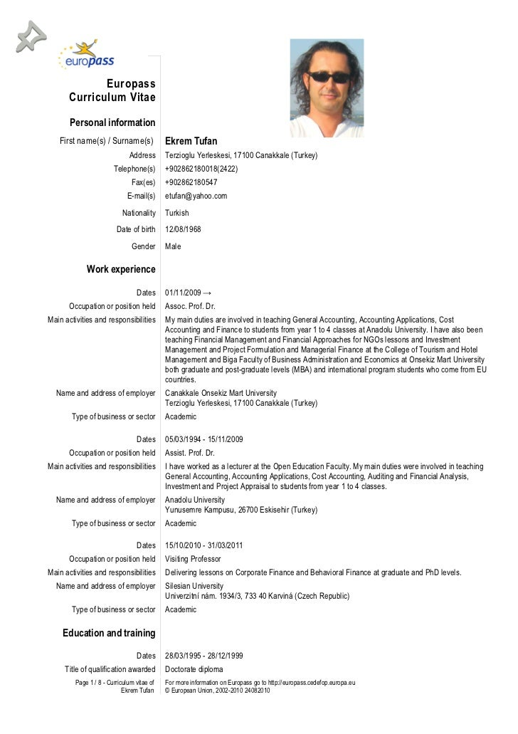 Curriculum Vitae Europass Cv Sample   newhairstylesformen2014.com