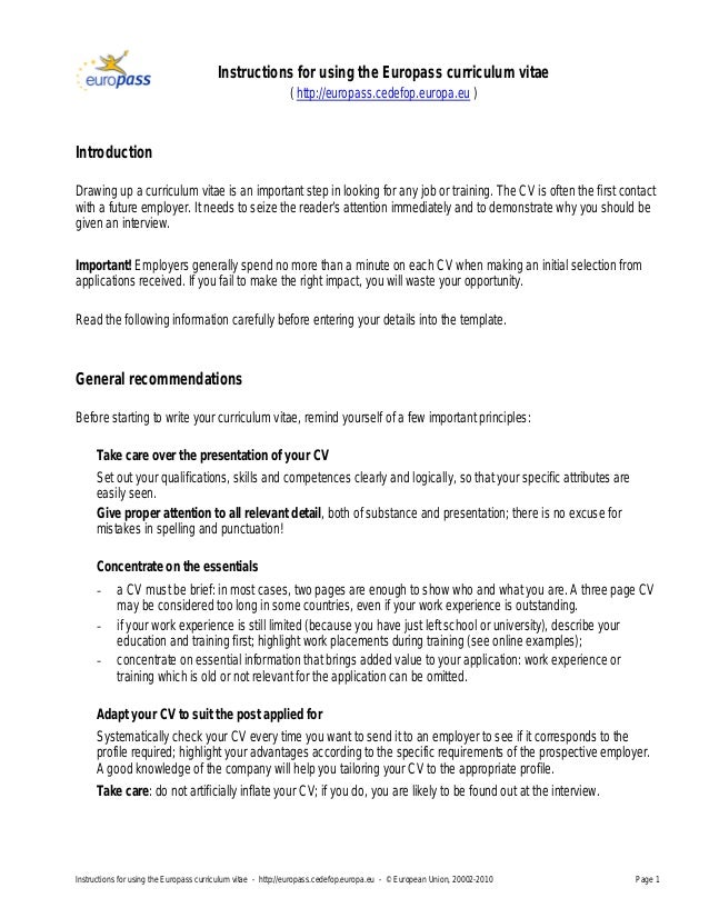 Europass Cv Template English Instructions WordPresscom