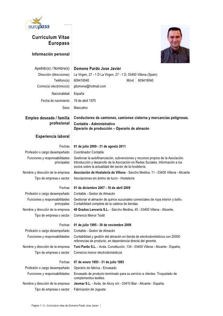 Curriculum Vitae             Europass      Información personal        Apellido(s) / Nombre(s)            Domene Pardo Jos...