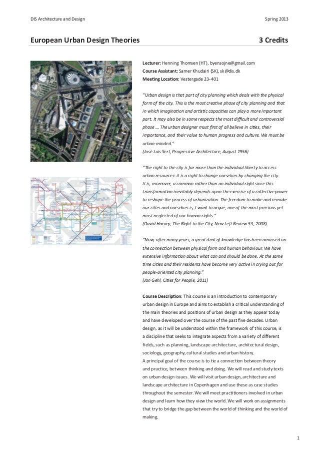 DIS Architecture and Design                                                                       Spring 2013European Urba...