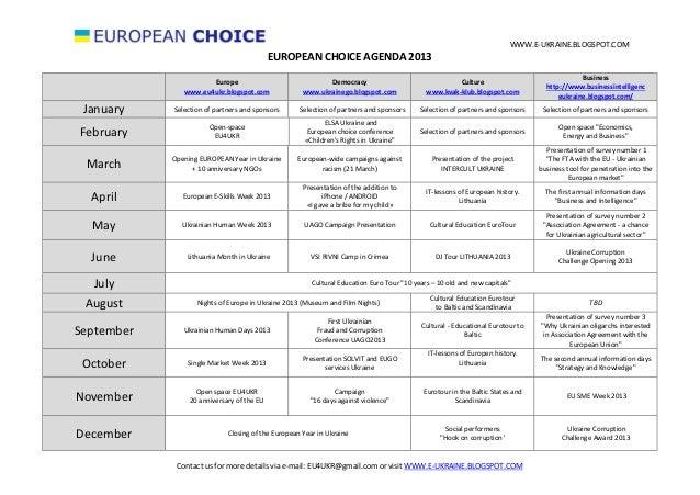 WWW.E-UKRAINE.BLOGSPOT.COM                                            EUROPEAN CHOICE AGENDA 2013                         ...