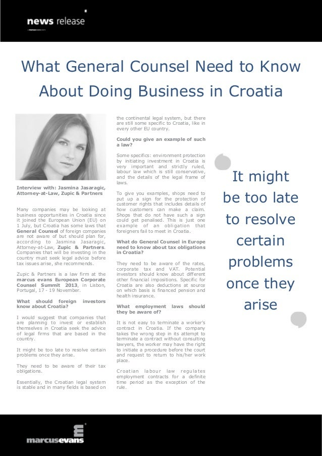 What General Counsel Need to Know About Doing Business in Croatia - Interview: Jasmina Jasaragic, Zupic & Partners - European Corporate Counsel Summit