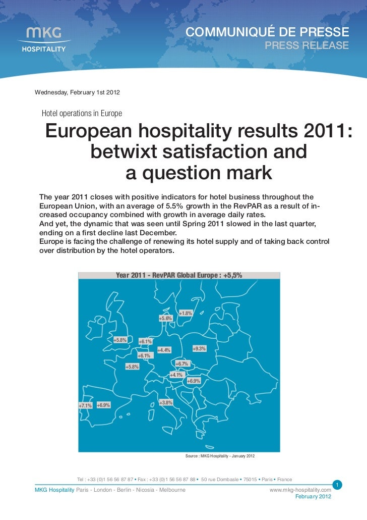 European hospitality results 2011
