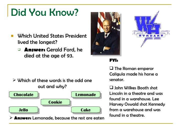 Did You Know?     Which United States President      lived the longest?       Answer: Gerald Ford, he          died at t...