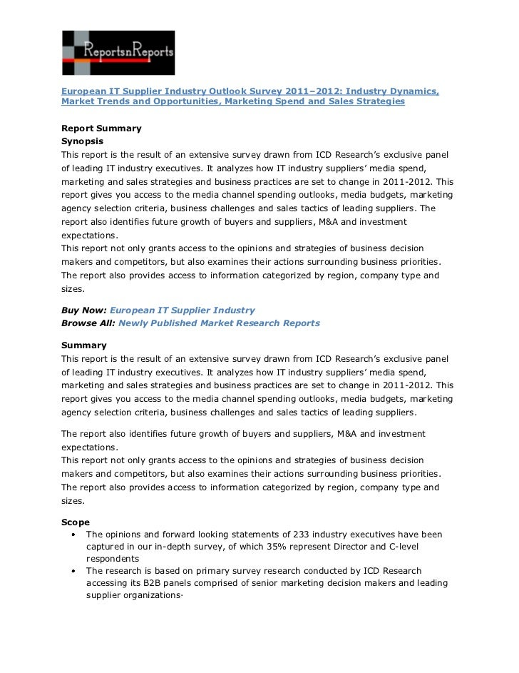 ReportsnReports – European IT Supplier Industry Outlook Survey 2011–2012: Industry Dynamics, Market Trends and Opportunities, Marketing Spend and Sales Strategies