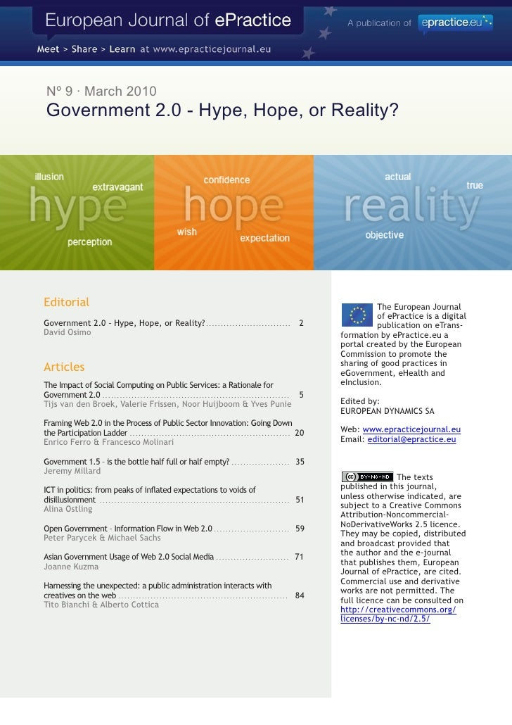 Nº 9 · March 2010  Government 2.0 - Hype, Hope, or Reality?     Editorial                                                 ...