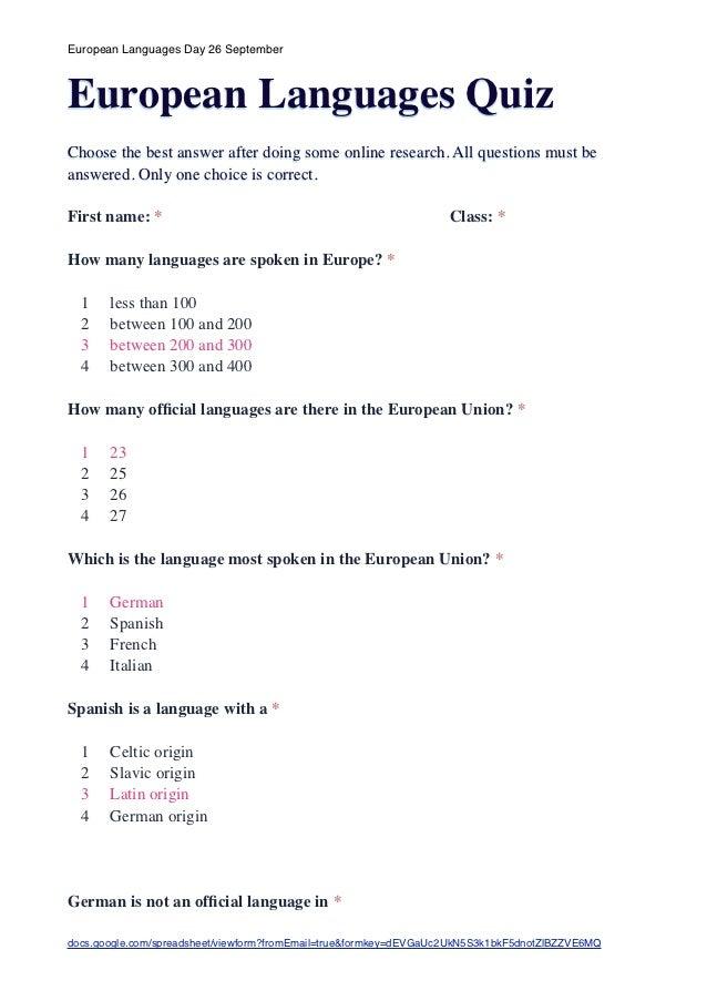 European languages quiz answers
