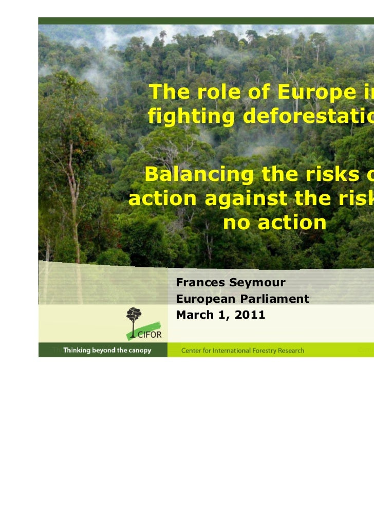 The role of Europe in fighting deforestation: Balancing the risks ofaction against the risks of        no action    France...