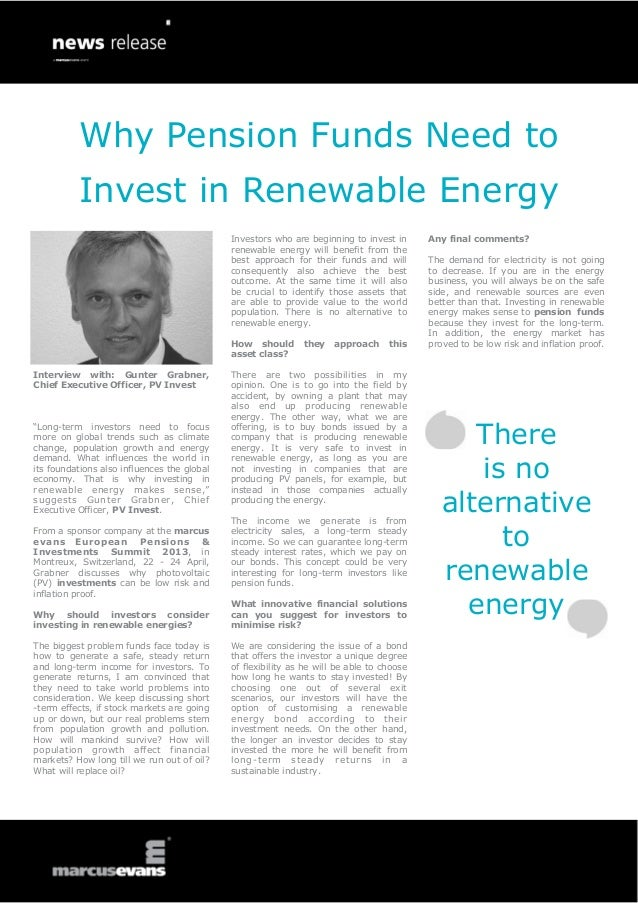 Why Pension Funds Need to Invest in Renewable Energy: Interview with: Gunter Grabner, Chief Executive Officer, PV Invest - European Pensions & Investments Summit
