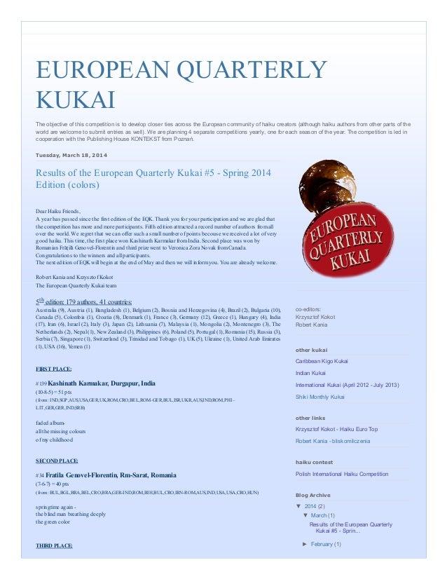 European quarterly kukai  results of the european quarterly kukai #5   spring 2014 edition (colors)