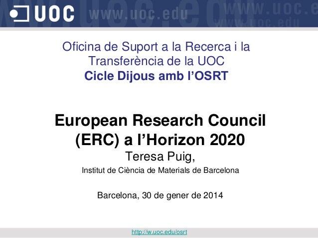 European Research Council a l'Horizon 2020