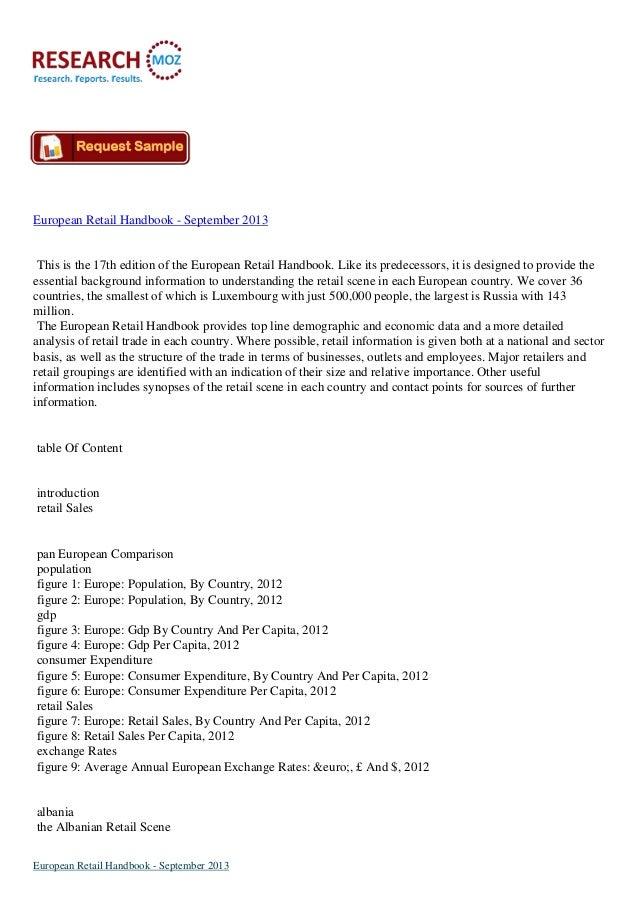 European Retail Handbook - September 2013 This is the 17th edition of the European Retail Handbook. Like its predecessors,...