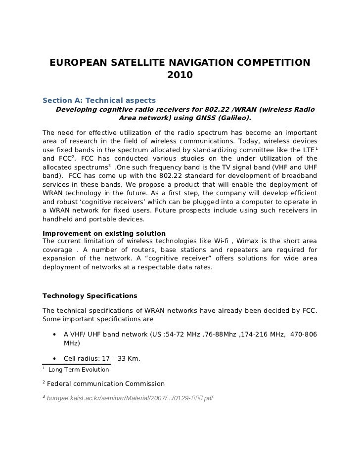 EUROPEAN SATELLITE NAVIGATION COMPETITION                       2010Section A: Technical aspects      Developing cognitive...