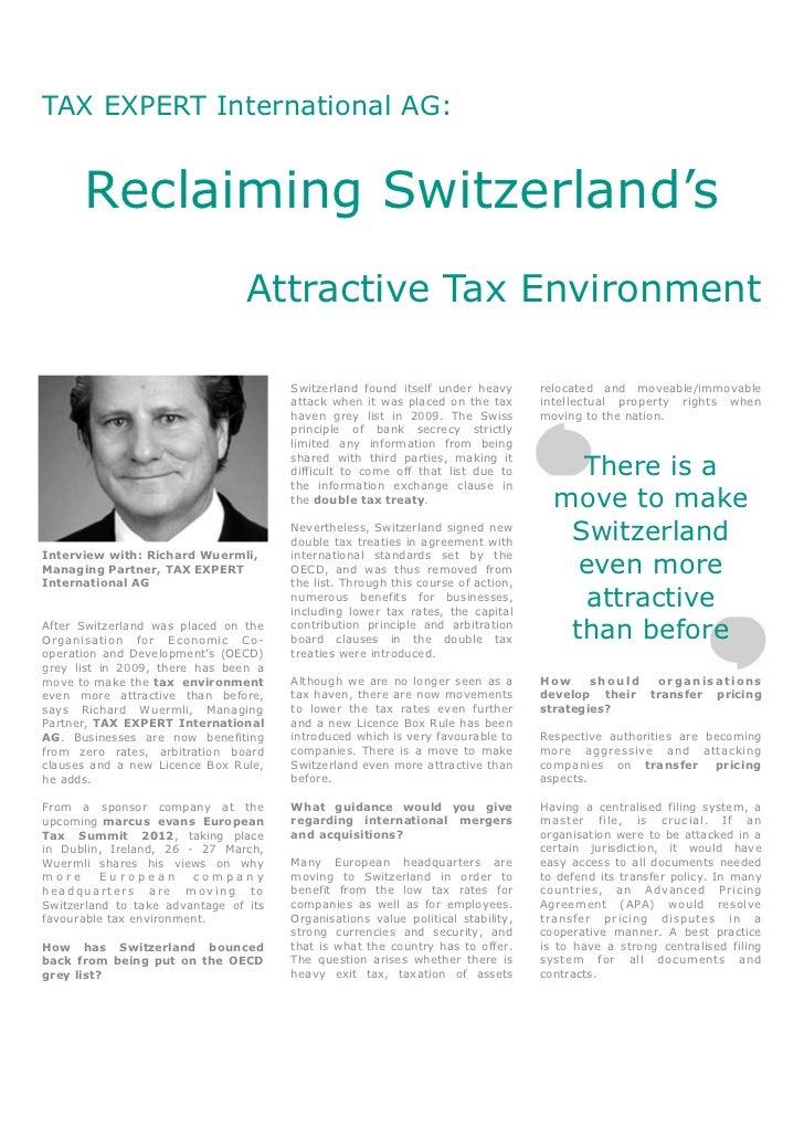 TAX EXPERT International AG:      Reclaiming Switzerland's                                 Attractive Tax Environment     ...
