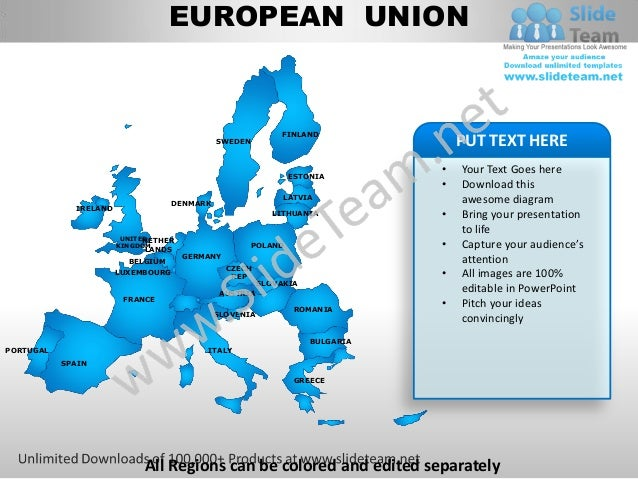 European union powerpoint editable continent map with countries templates slides
