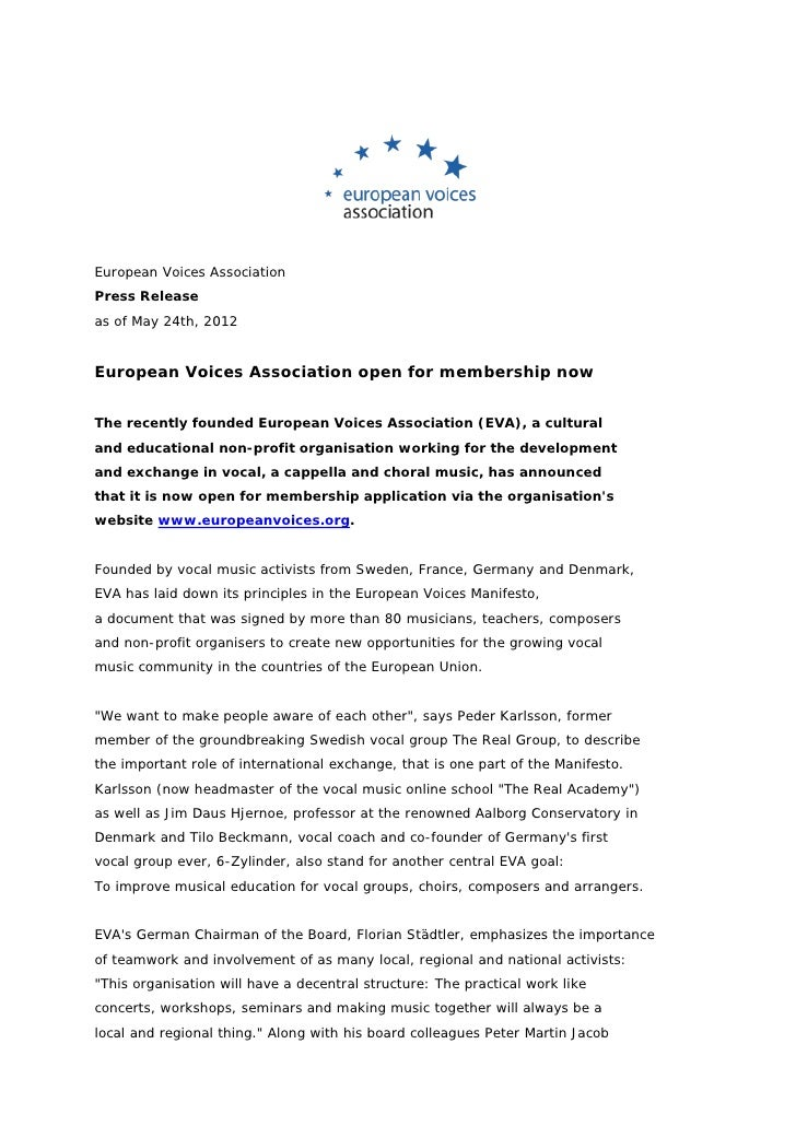 European Voices Association  press release membership 2012