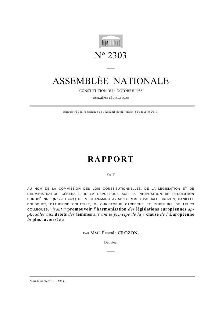 N° 2303                                                        ——                       ASSEMBLÉE NATIONALE               ...